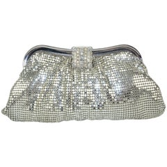 C.1950 Whiting & Davis Silver Mesh Clutch Evening Handbag