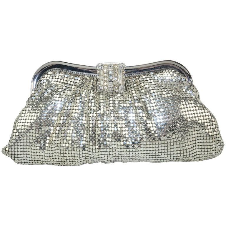 C.1950 Whiting & Davis Silver Mesh Clutch Evening Handbag