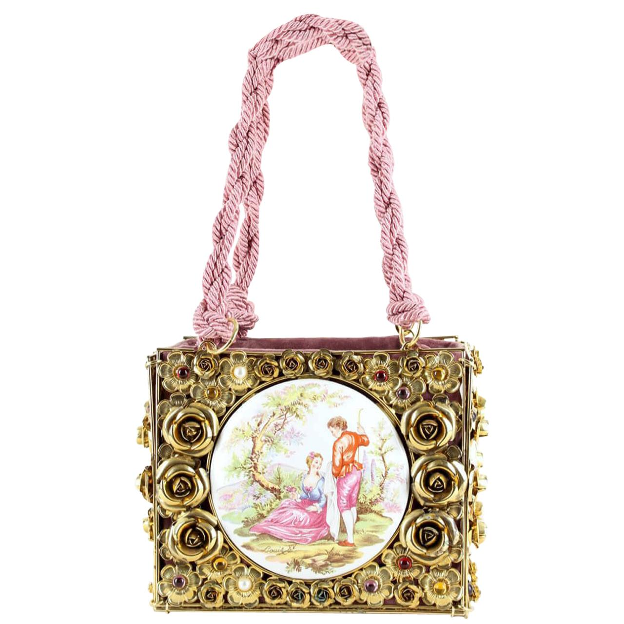 DOLCE & GABBANA F/W 1992 Documented Couture Runway Floral Metal & Porcelain Bag