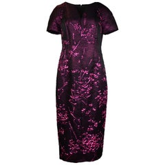 Talbot Runhof 2018 Black/Cranberry Metallic Twig Detail Dress Sz 14 rt. $2,075