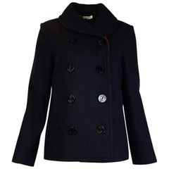Balenciaga Navy Wool W/ Red Check Detailing Double Breasted Peacoat Sz 40