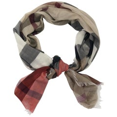 Burberry Lightweight Fine Cotton Check Low Profile Fringe Scarf