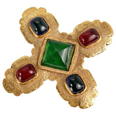 Chanel Gold Gripoix Maltese Cross Brooch Pin, late 1980s