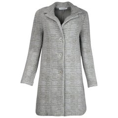 Amina Rubinacci Grey Cashmere Blend Tweed Coat Sz 44
