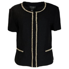 St. John NWT Black Boucle Jacket w. Pearl/Crystal/Lace Sz 12 rt. $1,695