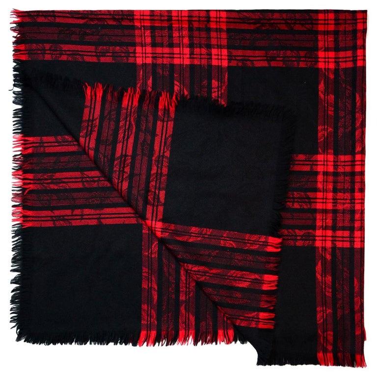 c65af28a63f2e Yves Saint Laurent YSL Vintage Red Black Jacquard Plaid Blanket ...