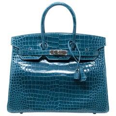 Hermes Bleu Colvert Porosus Crocodile with Palladium Hardware Birkin 35cm Bag