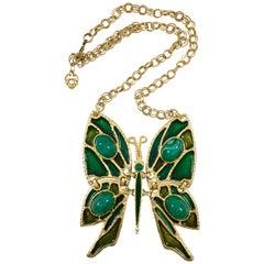 Massive Butterfly Pendant Necklace, 1970s