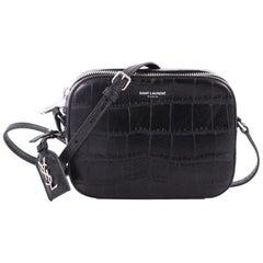 Saint Laurent Camera Bag Crocodile Embossed Leather Small