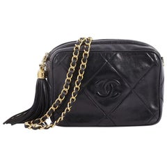 Chanel Vintage Diamond CC Camera Bag Quilted Leather Mini