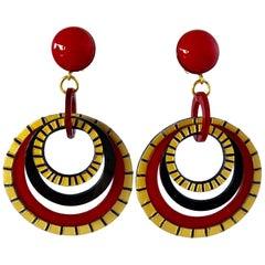 Cilea Paris Modern Pop Art Red Hoop Statement Earrings