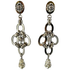 "French Architectural Modern Geometric Silver-Tone ""Diamante"" Drop Earrings"