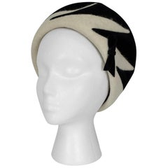 Schiaparelli Surrealist Zebra Pillbox Turban Hat, 1960s