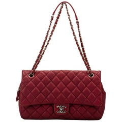 Chanel Cherry Red Jumbo Zipped Flap Bag