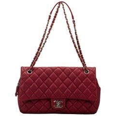Chanel Cherry Red Jumbo Zipped Flap Bag
