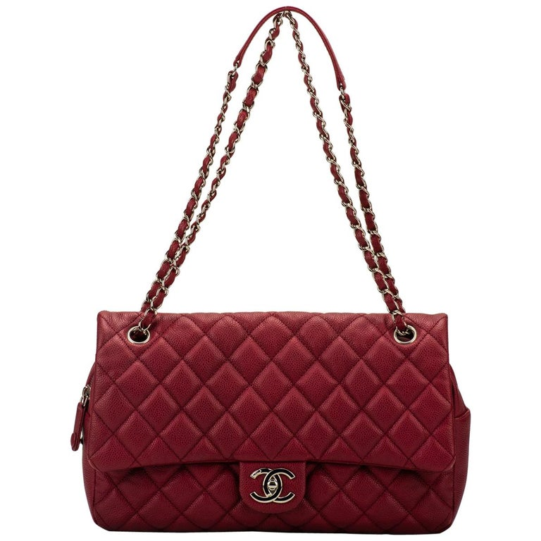 Chanel Cherry Red Jumbo Zipped Flap Bag For Sale