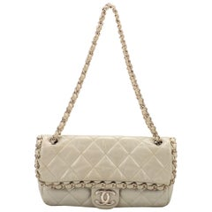 Chanel Ice White Chain Evening Flap Bag
