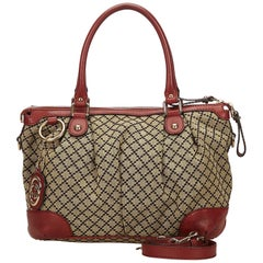 Gucci Brown and Red Diamante Canvas Sukey Satchel