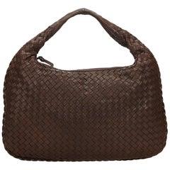 Bottega Veneta Brown and Dark Brown Intrecciato Hobo Bag
