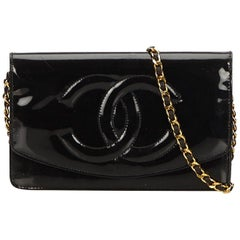 Chanel Black Patent Leather Wallet on Chain