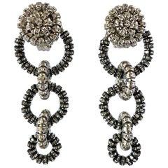 French Diamante Silver-Tone Circular Statement Earrings