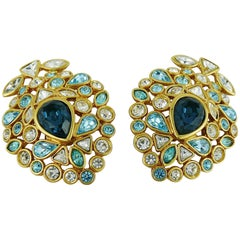 Yves Saint Laurent YSL Vintage Jewelled Clip On Earrings