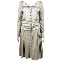 Louis Vuitton Gray Silk Jersey Shirt Dress