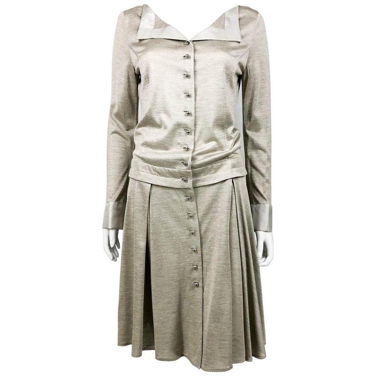 Louis Vuitton Gray Silk Jersey Shirt Dress For Sale