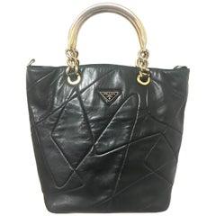 Prada Vintage black leather geometric patchwork tote bag with metallic handles