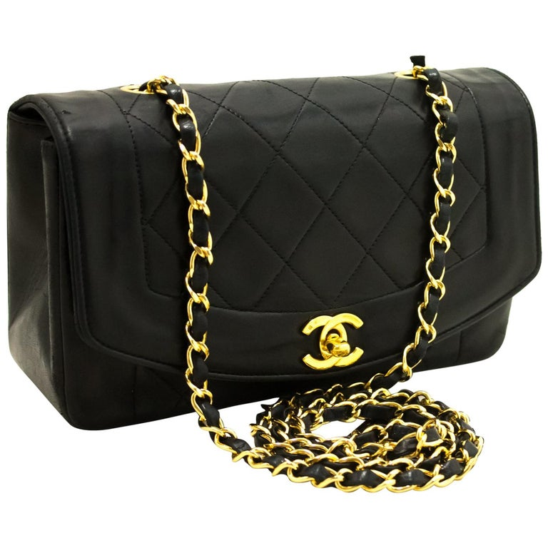 b4d4e79d39c8 Chanel Diana Black Quilted Lamb Chain Flap Shoulder Crossbody Bag For Sale