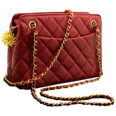 Chanel Red Caviar Sun Charm Chain Shoulder Bag Quilted Leather Zip