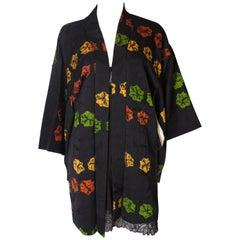 Short Vintage Kimono with Multi colour Flower Decoration