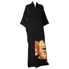 Full Length Vintage Kimono with Dancing Crane Decoration