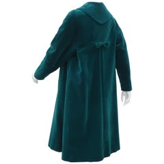 Italian Emerald Green Velvet Coat with Bow Accent, 1950s