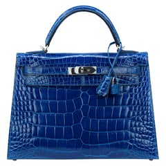 Hermes Blue Roi Alligator with Palladium Hardware Kelly 32cm Sellier Bag