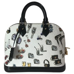 Louis Vuitton White Monogram Vernis and Stickers Alma PM Bag
