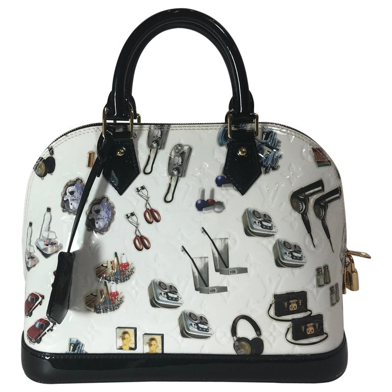 Louis Vuitton White Monogram Vernis and Stickers Alma PM Bag