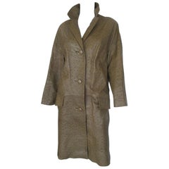 olive green vintage ostrich leather coat
