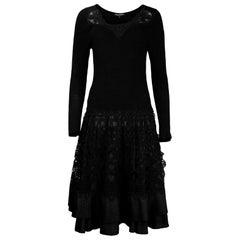 Dolce & Gabbana Ribbed Longsleeve Little Black Dress Lace/Pleated Bottom Sz XL
