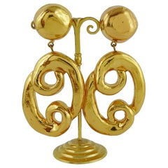 "Christian Lacroix Vintage Gold Toned Massive ""Pretzel"" Dangling Earrings"