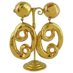 """Christian Lacroix Vintage Gold Getönte Massive """"Brezel"""" Ohrringe"""