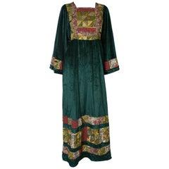 Boho Silk Velvet Vintage Gown