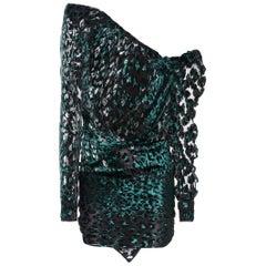 Saint Laurent Black and Jade Velour Asymmetrical Leopard Mini Dress