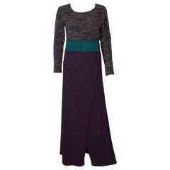Purple and Turquoise Vintage Knitted Dress