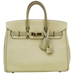Hermes Tan Swift and Ficelle Lizard Birkin 25cm Bag with Gold Hardware