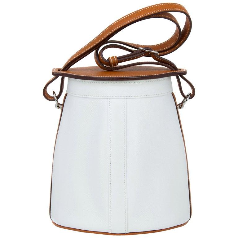 Hermes White Epsom and Barenia Farming Bag For Sale