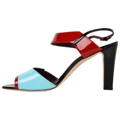 0b0615922649 Manolo Blahnik Shoe Multi Coloured Patent Leather Red Blue Black Sandal 40    10