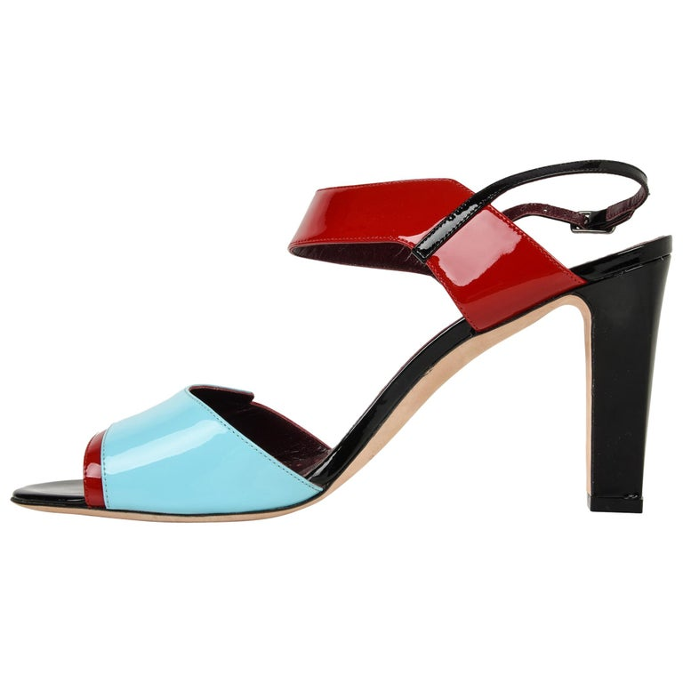 b17e765c0df Manolo Blahnik Shoe Multi Coloured Patent Leather Red Blue Black Sandal 40    10 For Sale at 1stdibs