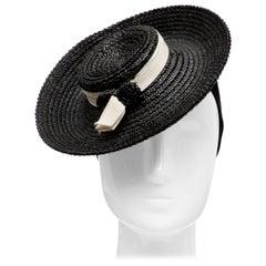 Black Raffia Tilt Hat, Circa: 1930's