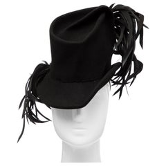 Created By Victoria New York Black Felt Appliquéd Feathers Hat, Circa: 1930's